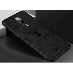 """полимерная из мягкого силикона и ткани задняя панель-чехол-накладка для OnePlus 7 Pro черная с изображением тематика """"Олень"""""""