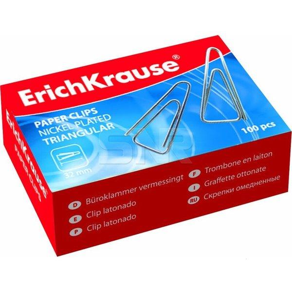 Скрепки 25мм E.Krause, гладкие, треугол., оцинк./никелир., 100шт/кор., в карт.кор. (24869) {1/24}