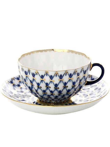"""Фарфоровая чайная чашка с блюдцем форма """"Тюльпан"""", рисунок """"Кобальтовая сетка"""", Императорский фарфоровый завод"""