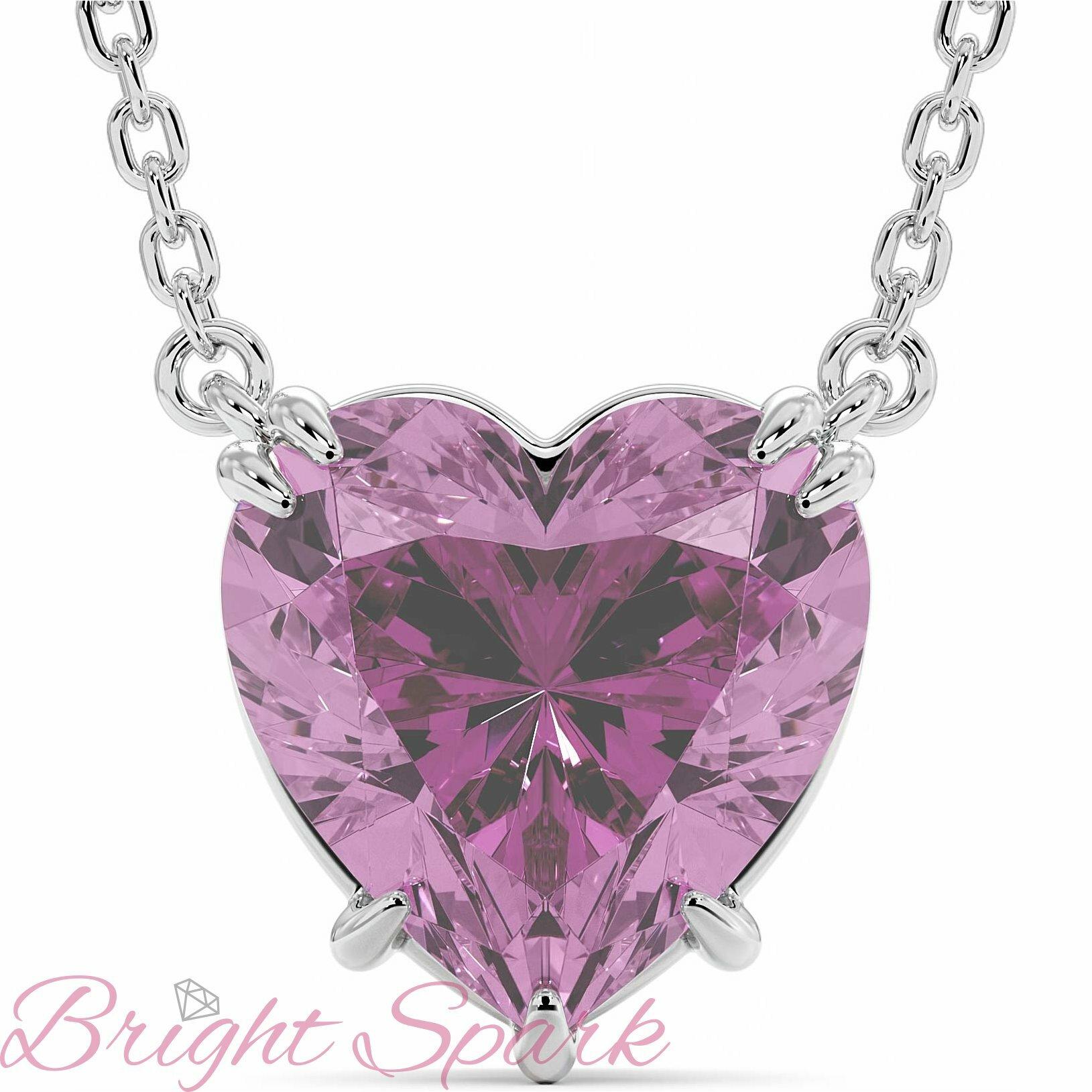 Кулон с розовым сапфиром в виде сердца 3 карата с цепочкой Love