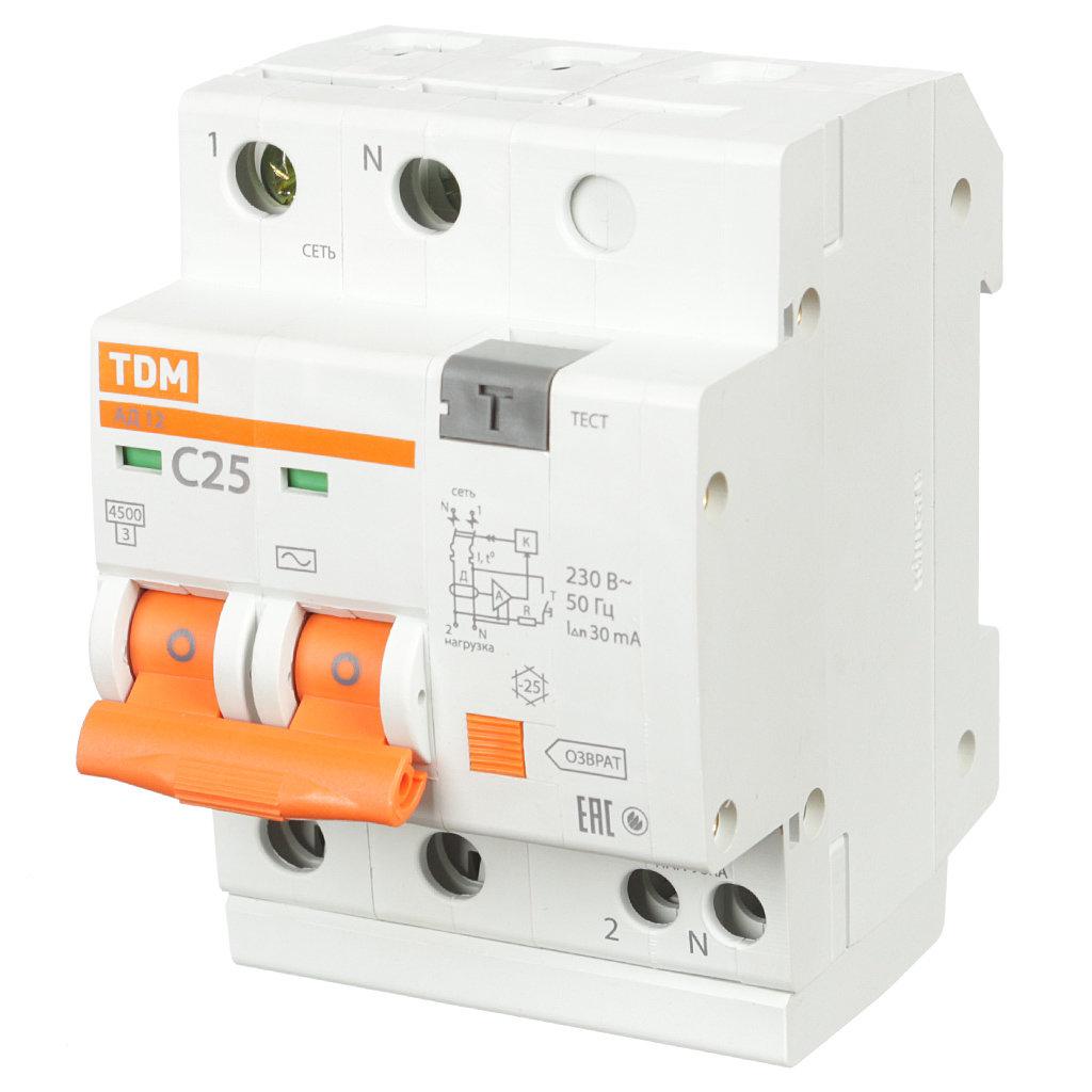 Автоматический выключатель дифференциального тока TDM Electric SQ0204-0011 АД12 2Р, 25 А, 30мА