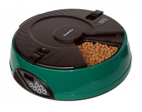 Автоматическая кормушка для кошек и собак на 6 кормлений с ЖК-дисплеем Feed-Ex, зеленая New (1 шт)