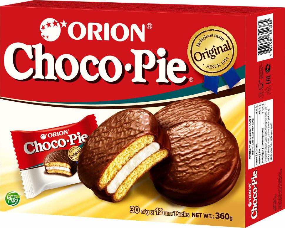 Пирожное Orion Choco Pie / Чоко Пай 360г (12 штук в упаковке)