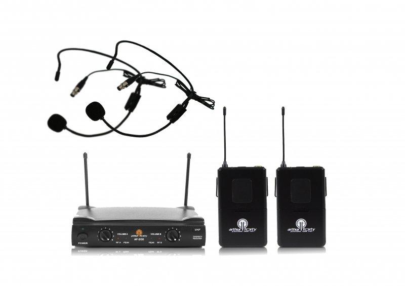 Arthur Forty AF-200B (VHF) Радиосистема с двумя поясными передатчиками и головными микрофонами.