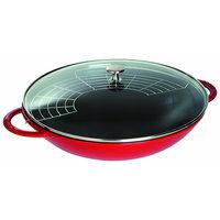 сковороды-воки Staub Чугунная сковорода-вок со стеклянной крышкой, 37 см, 5.7 л, вишневый