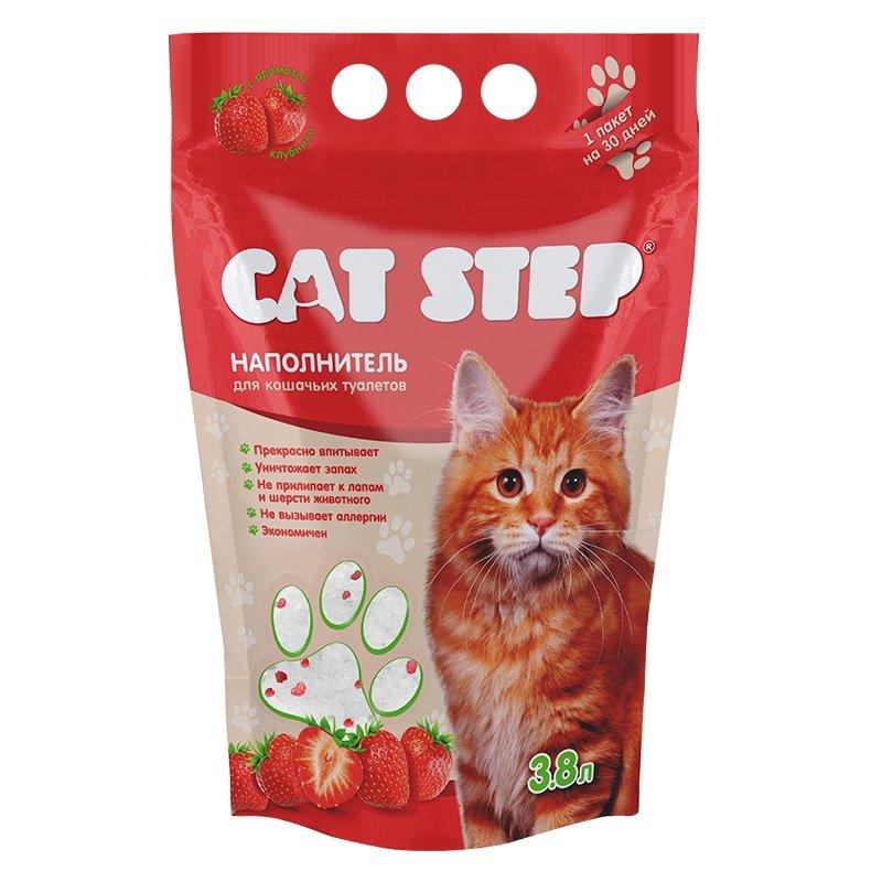 Наполнитель для кошачьего туалета силикагелевый, с ароматом клубники (3.8л), Cat Step