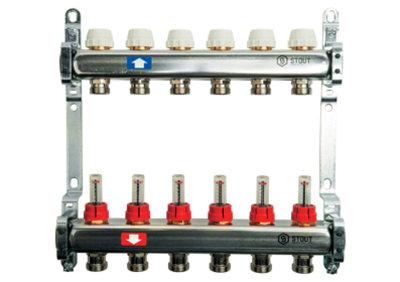Распределительный коллектор Stout SMS с расходомерами и рег-щими вставками на 6 контуров 1