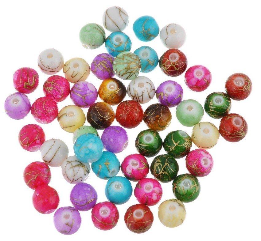 """Бусины пластиковые """"Цветные Камешки"""", 90 штук, 7 мм, цвет: микс (арт. 2008)"""