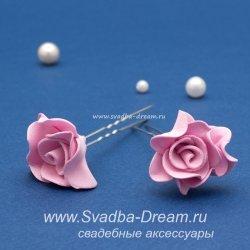 """Свадебные шпильки """"Роза"""" розовые"""