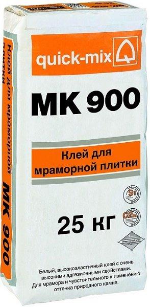 Высокоэластичный плиточный клей для мрамора Quick-Mix MK 900, белый, 25 кг
