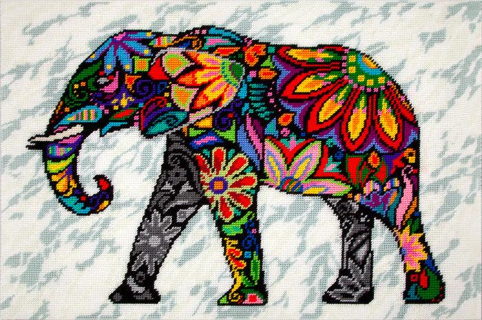 "Набор для вышивания пряжей QUICK TAPESTRY арт. TS86 ""Слон"" 50х80 см"