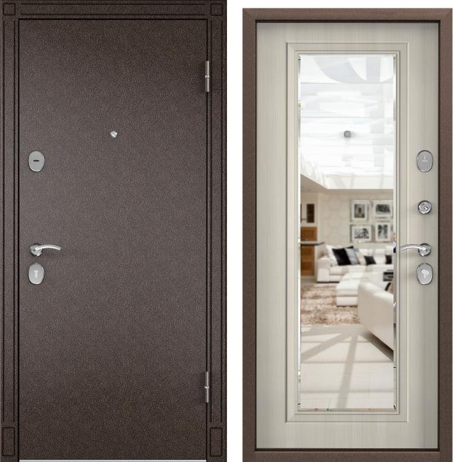 Дверь Torex СТЕЛ-05/зеркало (Медный антик | Белый перламутр) #1867