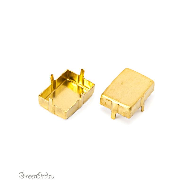 Оправы для кристаллов Swarovski 4527 Оправа без отверстий для Step Cut 18x13 мм, латунь