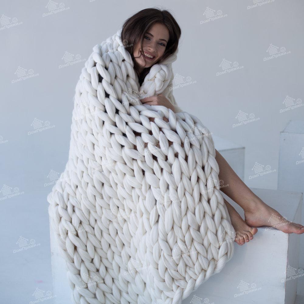 Плед из шерсти мериноса, белый