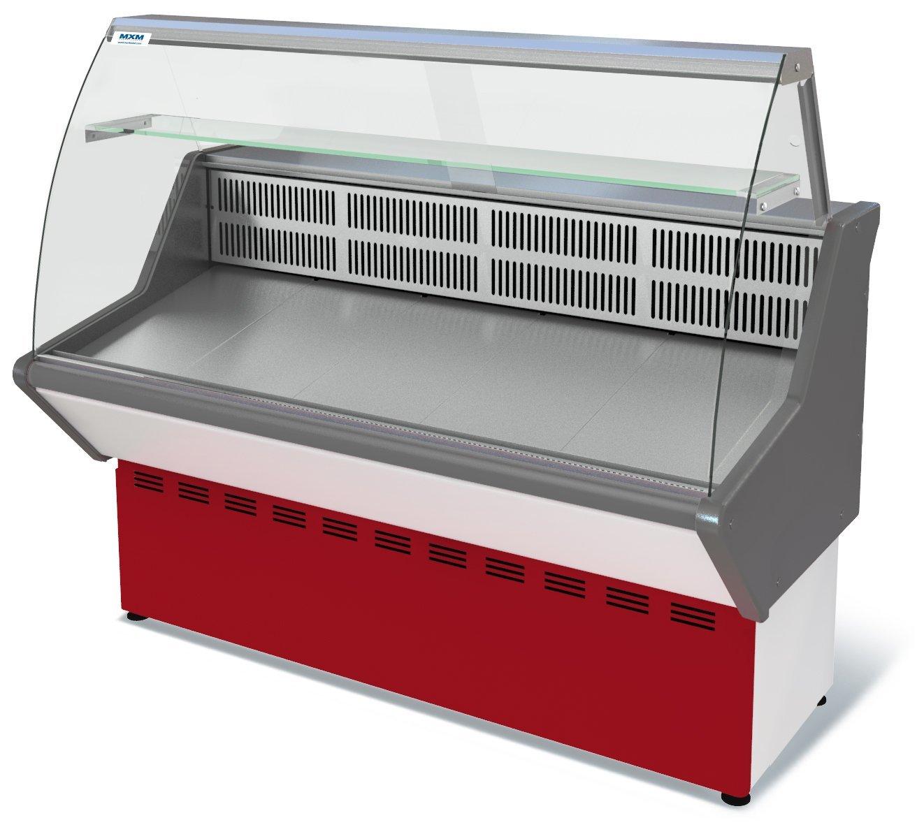 Витрина холодильная Марихолодмаш Нова ВХС - 1,2 (красная) с гнутым стеклом нержавейка