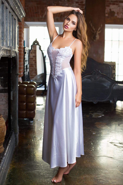 Mia-Mia Женская длинная сорочка шелковая белая с кружевом (белый / S(44))