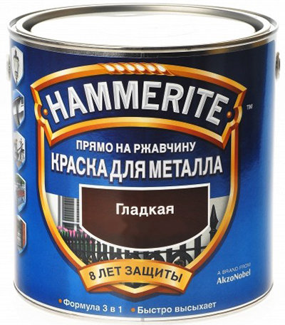hammerite smooth хаммерайт краска эмаль гладкая, черная (2,5л)