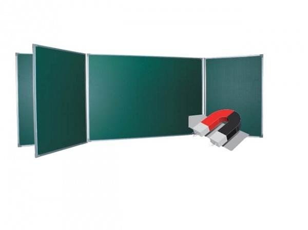 Магнитно меловая доска на стену BOARDSYS 120х300 см пятиэлементная металлическая рама