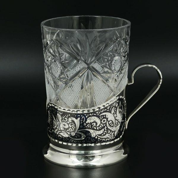 Серебряный подстаканник Кубачи (стакан и коробка - в подарок) арт.11012