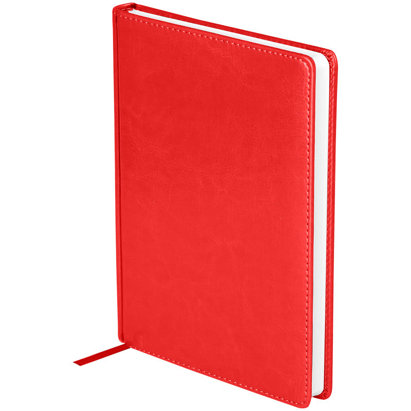"""Ежедневник недатированный, A5, 136л., кожзам, OfficeSpace """"Nebraska"""", красный"""