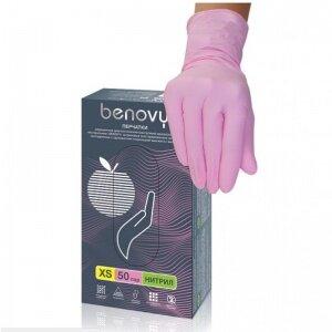 Перчатки Benovy нитриловые, розовые 50 пар (M)