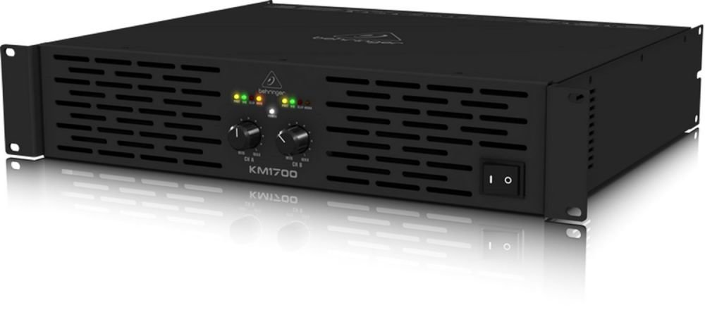 Behringer KM1700 усилитель 2-канальный. Мощность (на канал): 800Вт•4Ом, 500Вт•8Ом, мост 1700Вт•4Ом, XLR/Jack, клеммный зажим+Speakon, лимитер