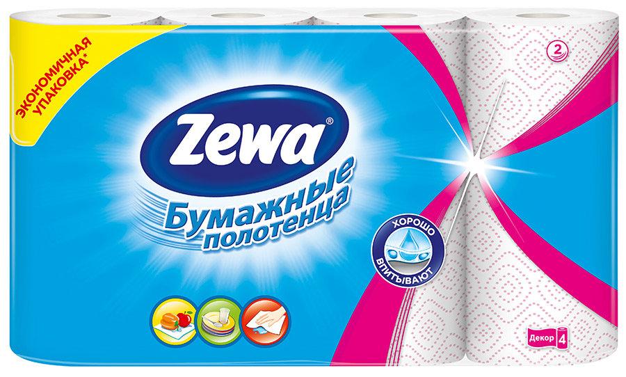 Полотенца Zewa Decor кухонные бумажные 2 -х слойные, 4 рулона