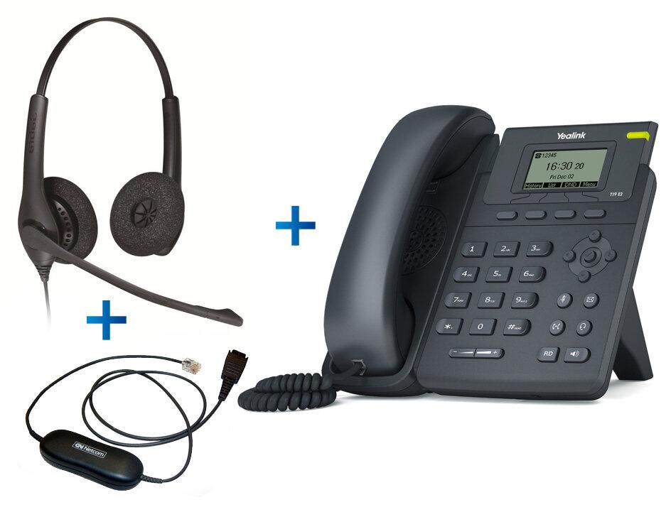 Yealink SIP-T19 E2 - Комплект гарнитуры Jabra BIZ 1500 Duo QD и IP-телефона