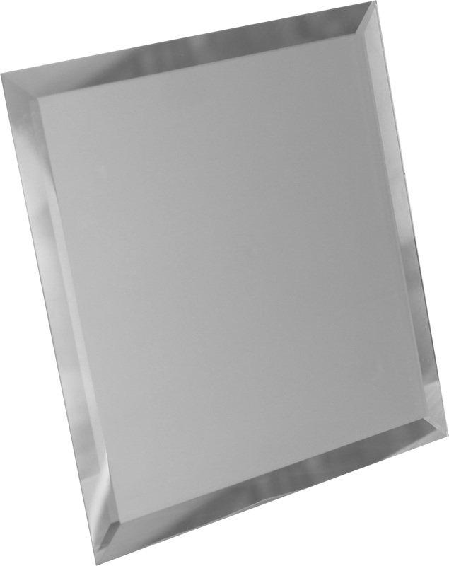 Квадратная зеркальная серебряная плитка с фацетом 10мм КЗС1-03 25х25