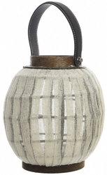 Фонарь декоративный с ручкой, бамбук, бежевый, 17х20 см