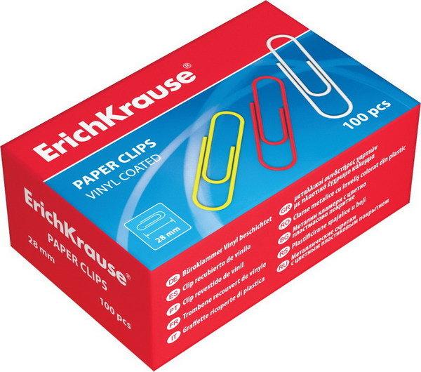 Скрепки цветные, 33 мм, 100 шт 19.08 ErichKrause 24872