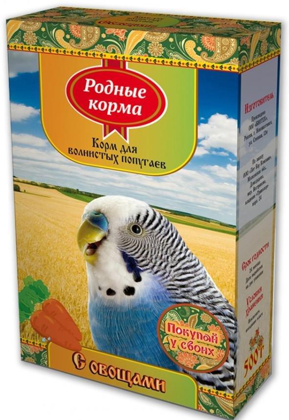 """Корм для волнистых попугаев """"Родные корма"""" с овощами, 500 г"""