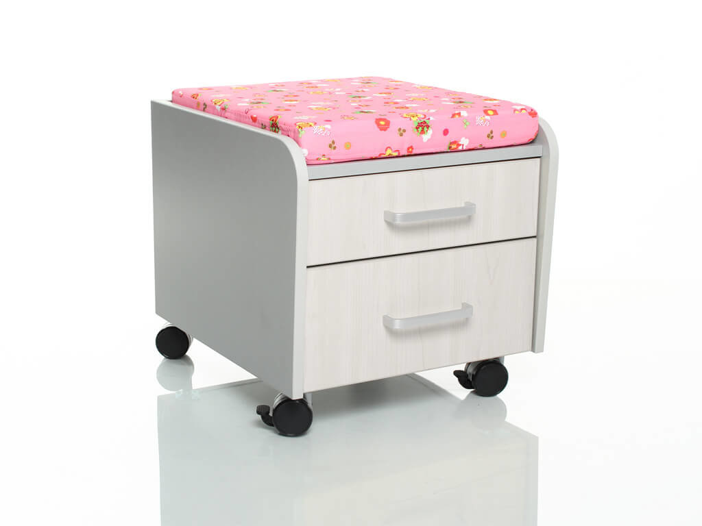 Тумбочка Comf-Pro BD-C2 с подушкой Дуб беленый Розовый с цветами