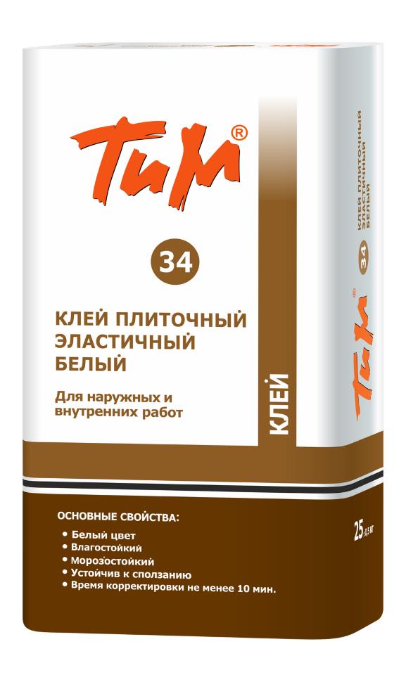 Клей плиточный Технология и материалы ТИМ №34, Клей плиточный эластичный белый