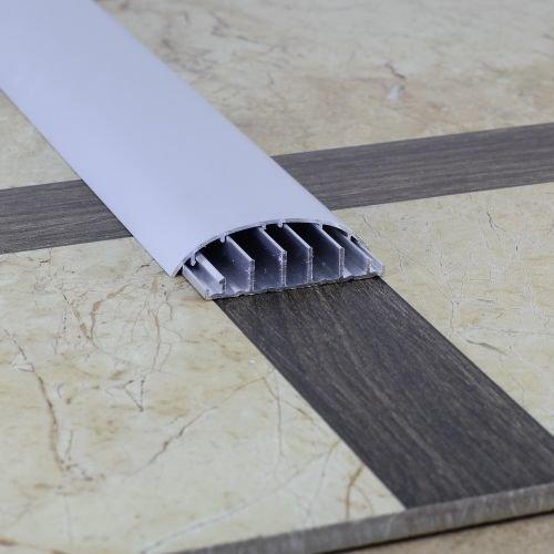 Порожек напольный с кабель каналом алюминиевый, серебро матовое