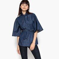 Жакет La Redoute Длинный в стиле милитари из тонкой джинсовой ткани с поясом