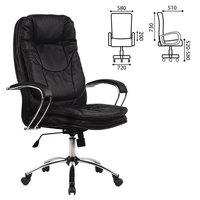 Кресло офисное метта LK-11CH, кожа, хром, черное, 85789 Метта