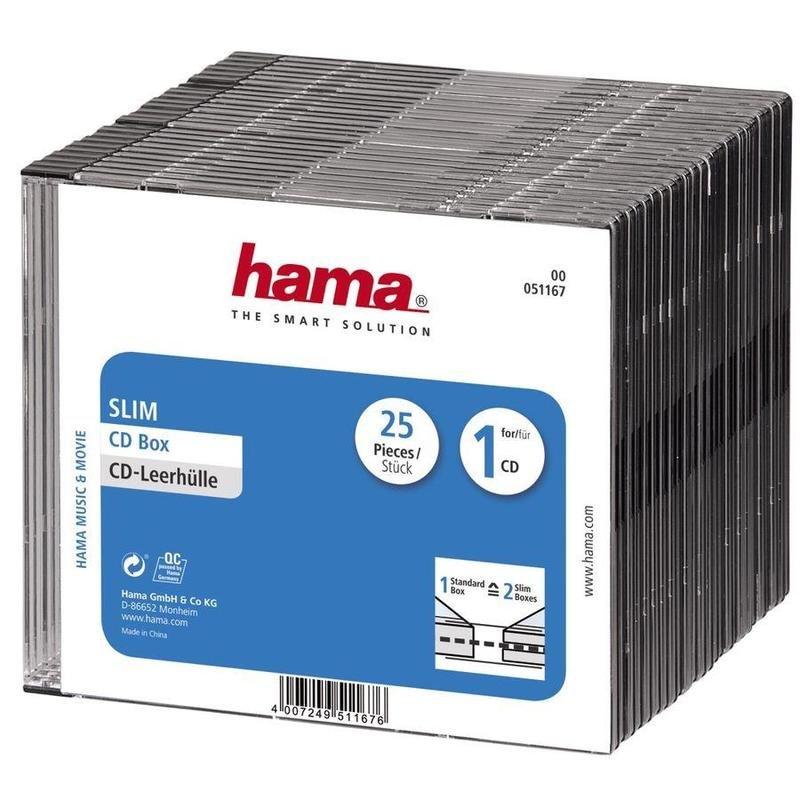 Бокс для CD/DVD дисков HAMA H-51167 (артикул производителя 00051167, 25 штук в упаковке)