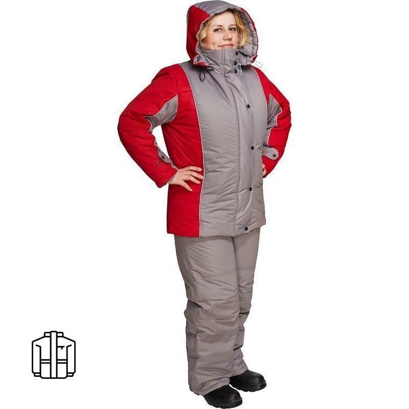 Куртка рабочая зимняя женская з10-КУ серая/красная (размер 56-58, рост 170-176)