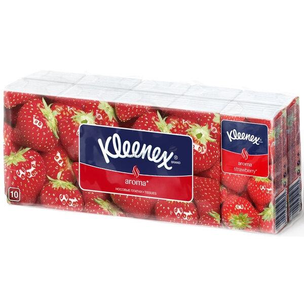 Платочки Kleenex (Клинекс) бумажные Aroma Клубника 10 шт. 10 упак.
