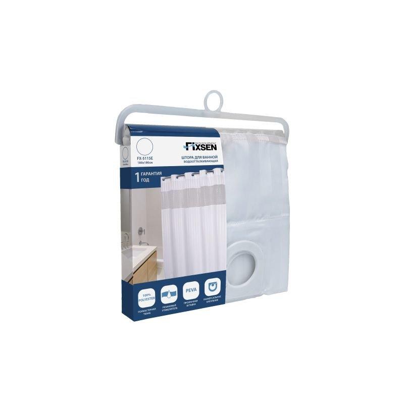 Шторка для ванной FIXSEN FX-5115E прозрачная (180х180 см)