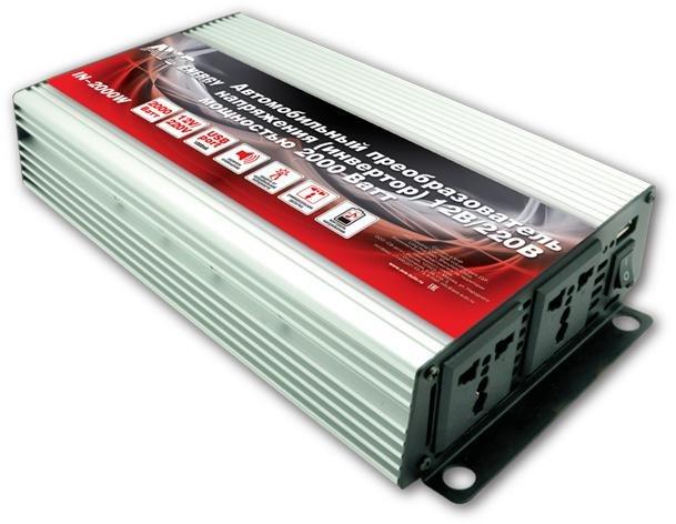 Преобразователь напряжения автомобильный AVS IN-2000W (12В > 220В, 2000 Вт, USB)