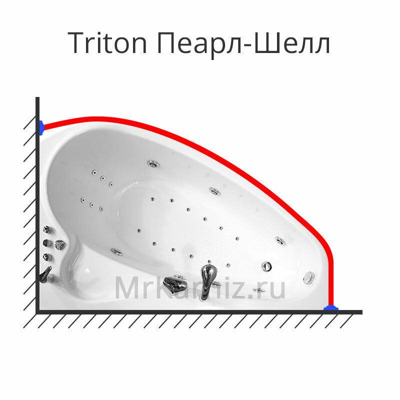 Карниз для ванны Triton Пеарл-Шелл 160х104 (Тритон Пеарл Шелл) Асимметричный Угловой