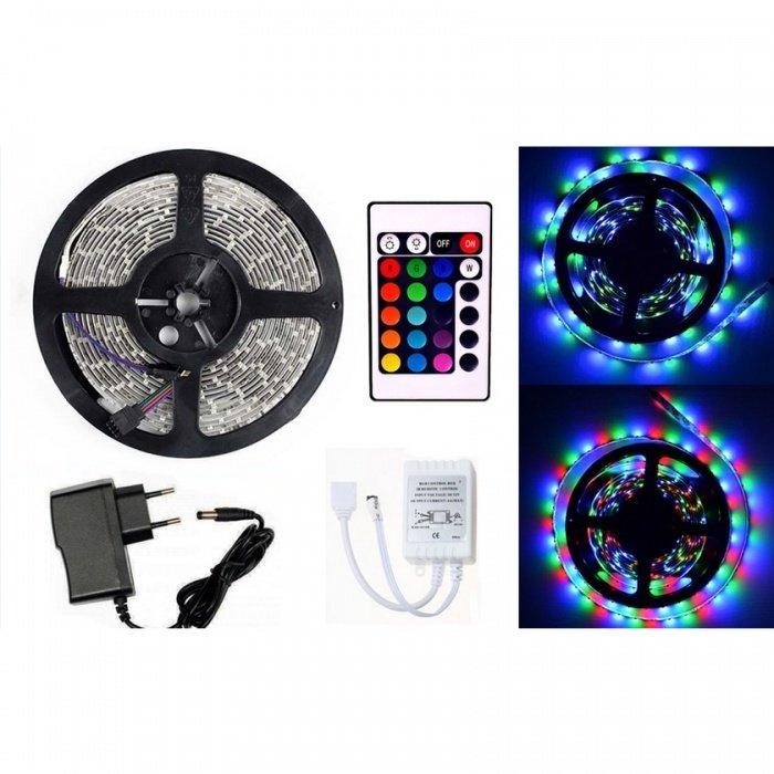 Светодиодная RGB лента с пультом управления, контроллером и блоком питания (5 метров) ширина (5 мм)