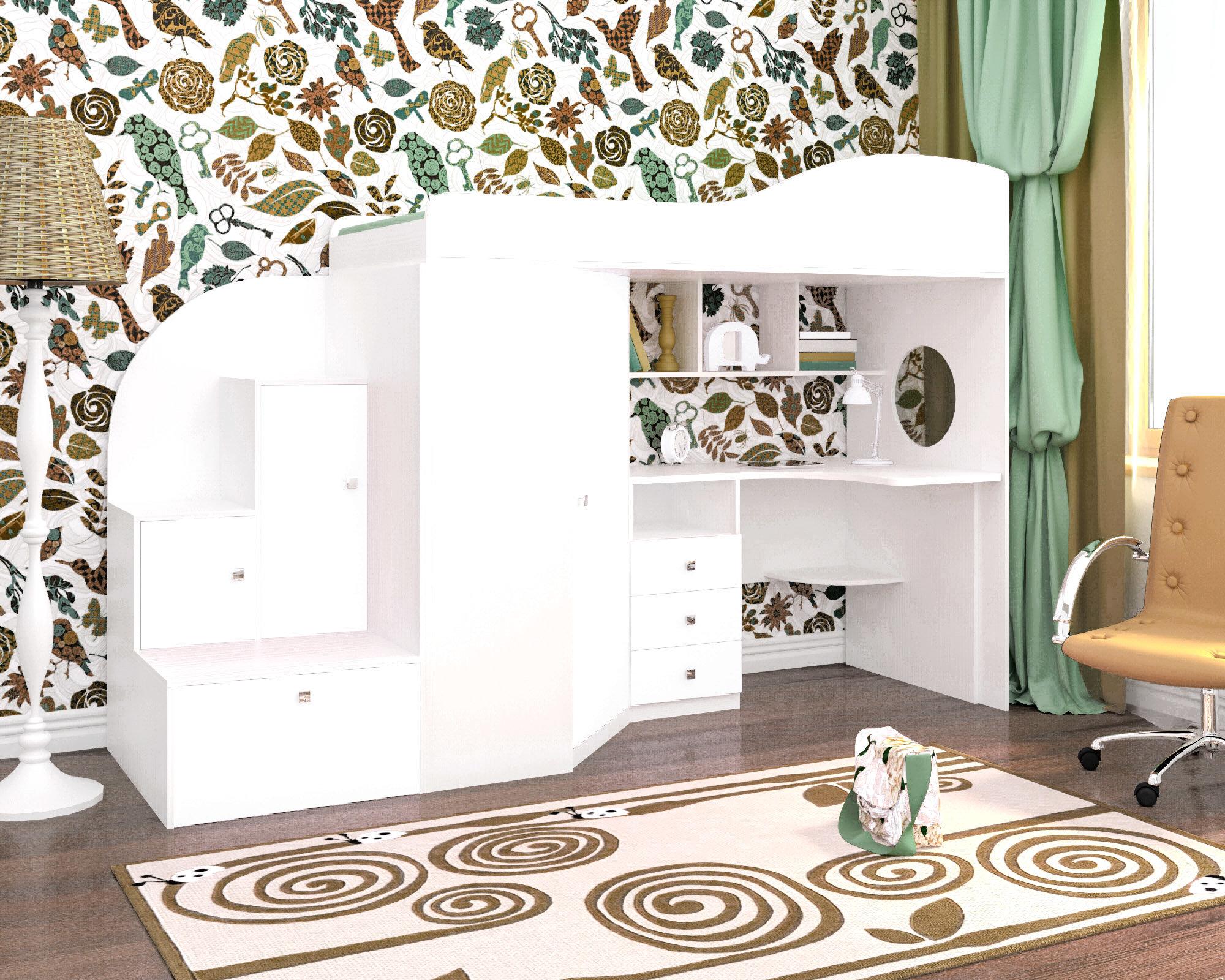 Ярофф Кровать-чердак Кадет 1 белое дерево