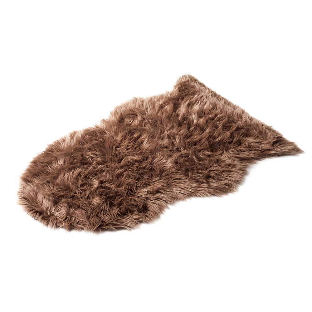 Шкура овечья искусственная, коричневая, 55*90 см 25002