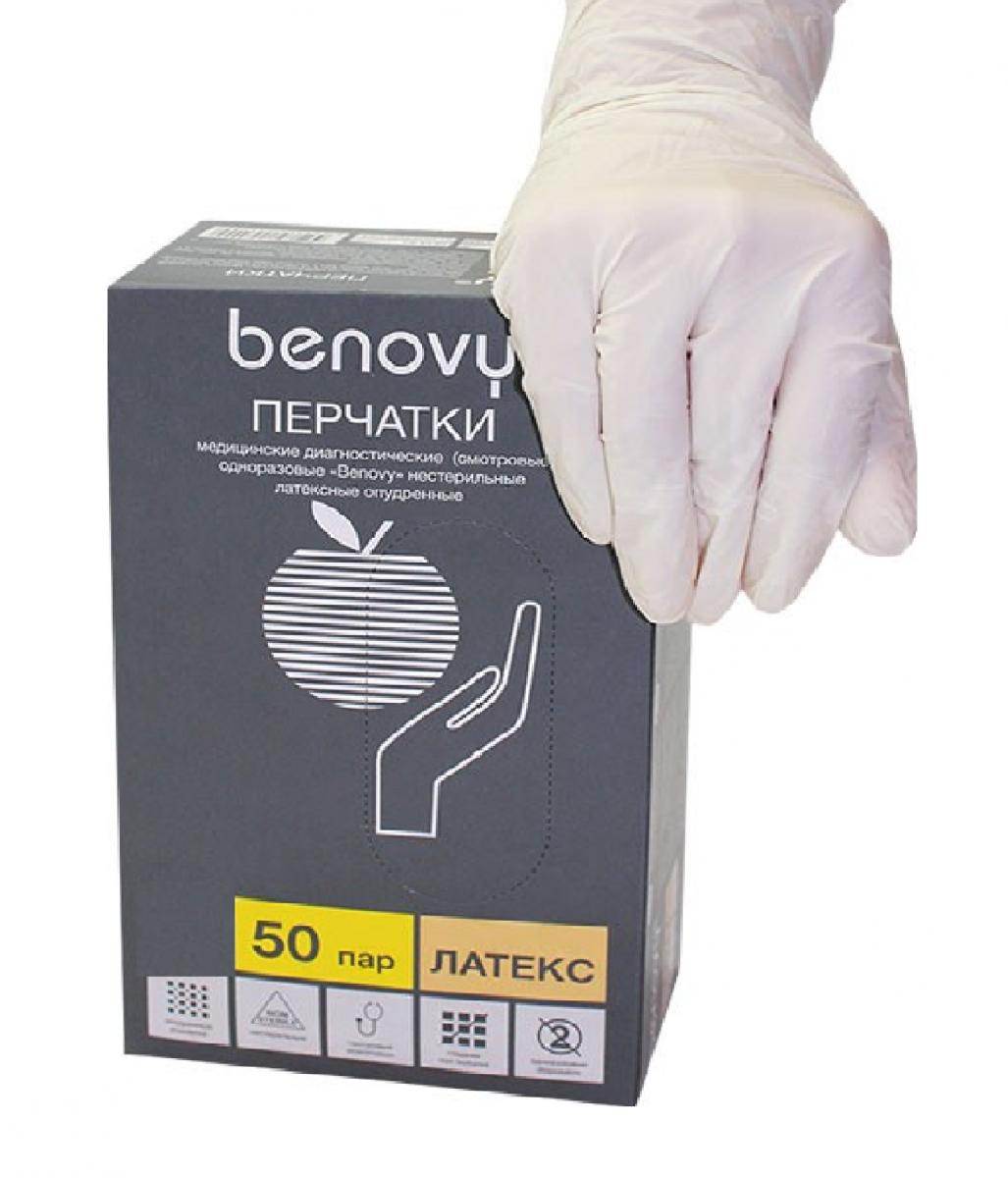 Перчатки латексные опудренные (L), 100 шт/упак, (Benovy)