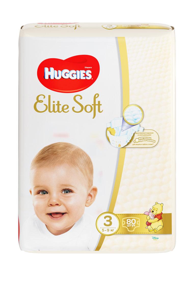 подгузники huggies elite soft, 3 (5-9 кг), 80 шт. Huggies