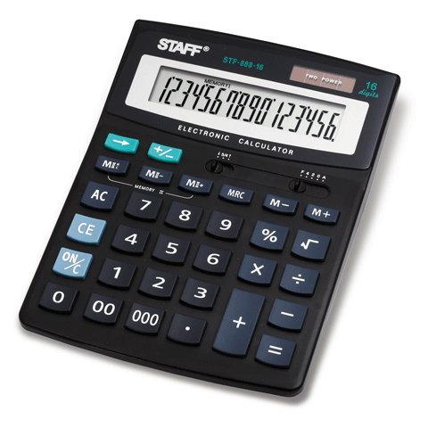 Калькулятор настольный STAFF STF-888-16, 16 разрядов, двойное питание