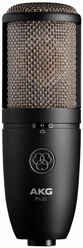 AKG P420 микрофон конденсаторный, 3 диагр., 2 мембраны 1`, 20-20000Гц, 28мВ/Па, SPL135/155дБ